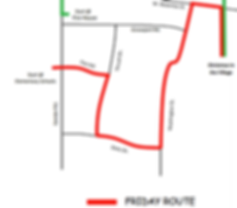 This image is of the parade route for Friday night. The parade starts at Winchester Trail Elementary and goes down Fox Hill, turns right onto Thrush Drive, Left onto Dietz Drive, Left onto Washington Street, Right on West Waterloo Street and Right onto Main Street into the festival.