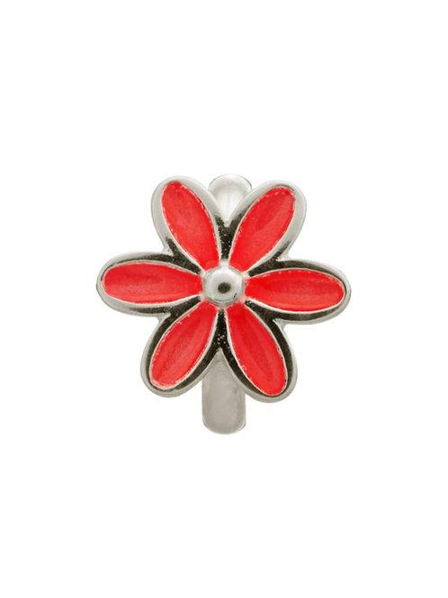 Red Enamel Flower Silver