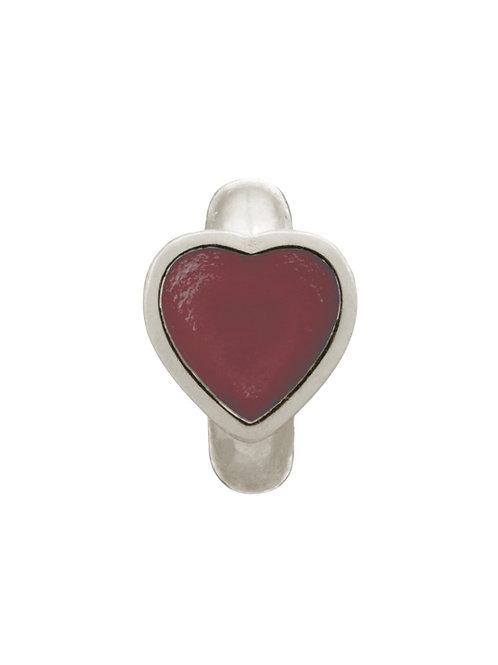 Violet Enamel Heart Silver