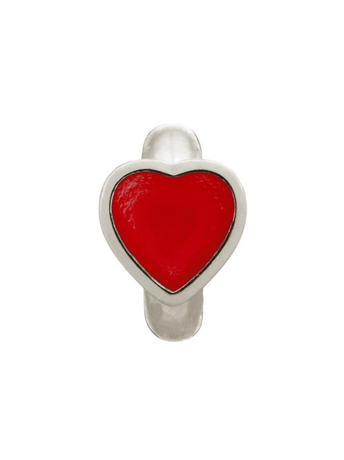 Red Enamel Heart Silver