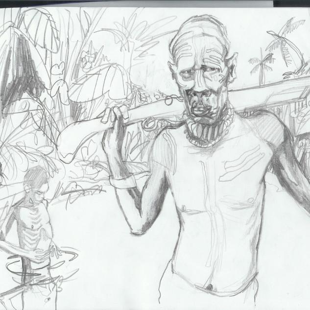 Sketch, jungle/ Boceto, selva.