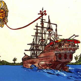"""""""Llegada"""" (Portada del libro CIRCO DEL NUEVO MUNDO)./""""Arrival""""(Cover for the book NEW WORLD CIRCUS)."""