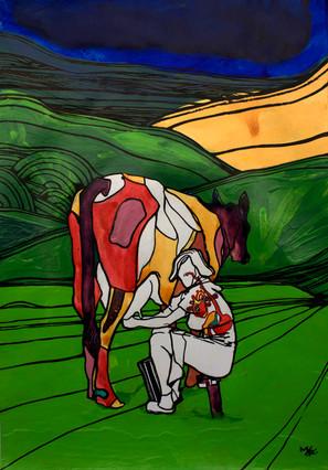 Cow and ower/ Vaca y dueña
