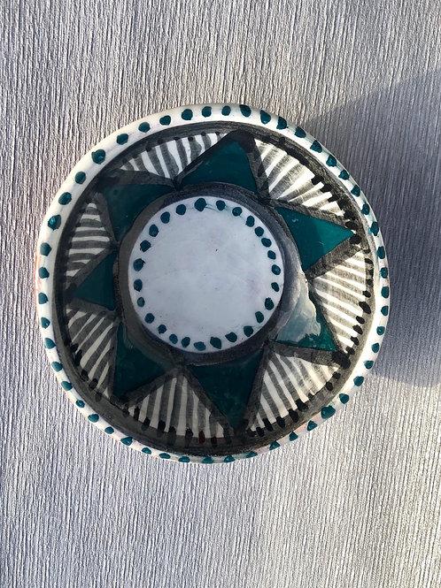 Dip Bowl III - terracotta decorated 14W cm x 5H cm