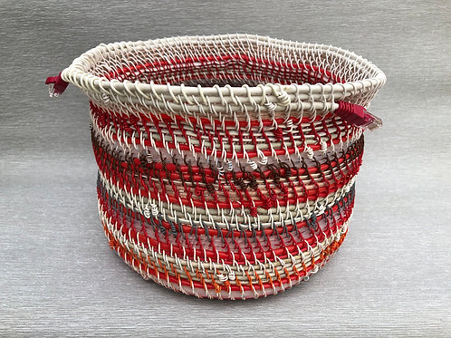 Big Red Stripe Basket - recycled cable and wire 28 W cm x 20H cm