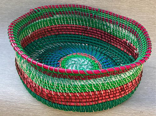 Fruit Basket - recycled cable, plastic and wire 31 W cm x13 H cm