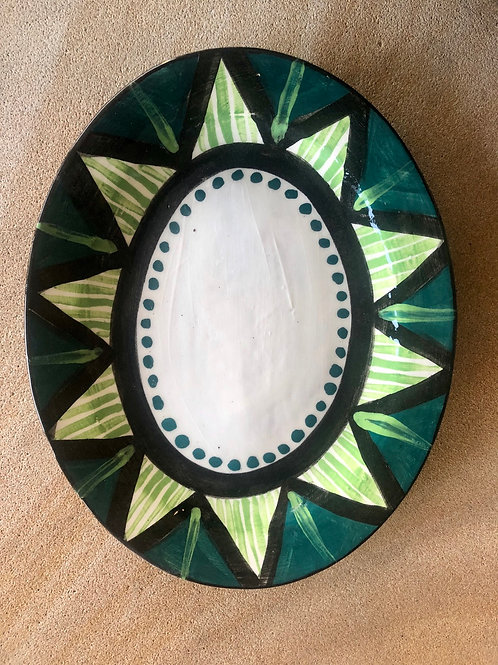 Oval Plate - terracotta decorated 27 W cm x 3H cm