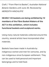 Plant to Basket - ACT Basket Makers Exhibition