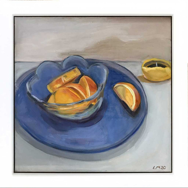 Oranges on Blue Plate
