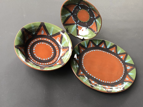 Plate and Bowls Set 3 - terracotta decorated