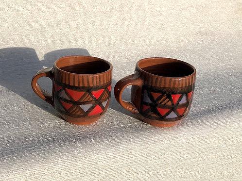 Coffee Cup - terracotta decorated 12 W cm x 8H cm