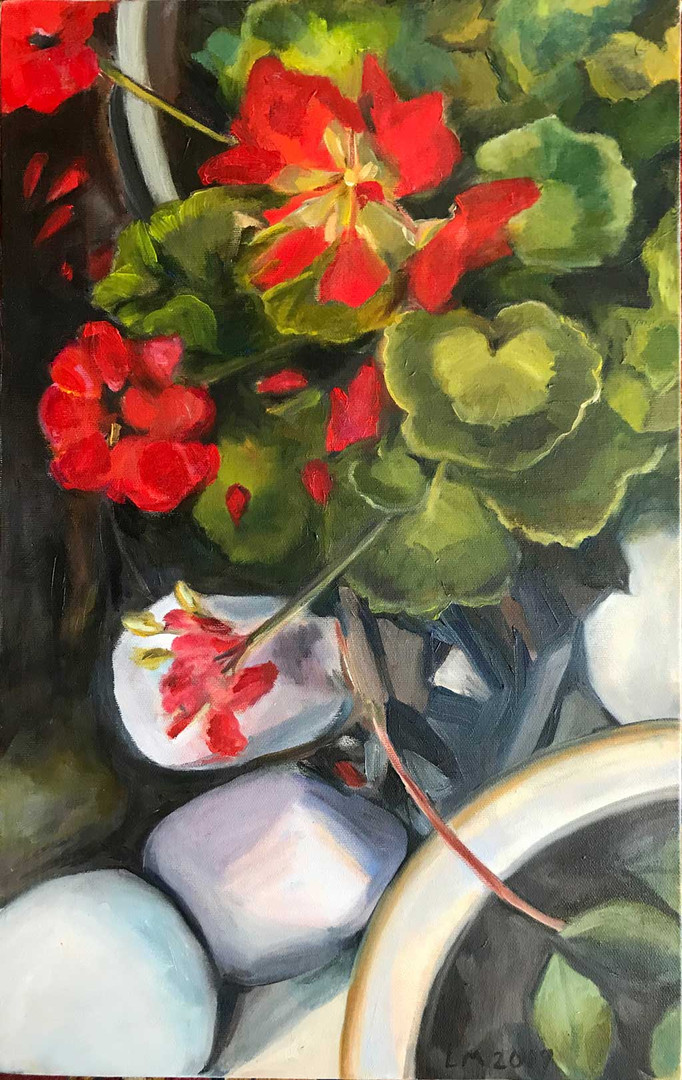 Red Geraniums in Bloom