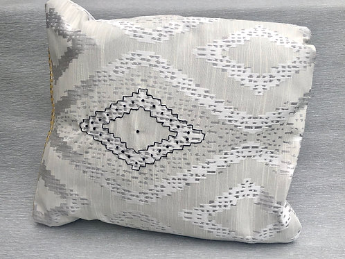 Isolation Cushion II - recycled fabric samples with embroidery 37W cm x 42H cm