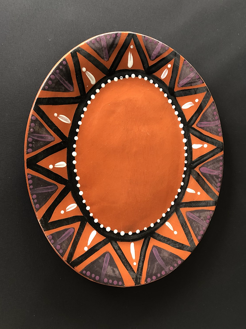 Oval Plate- terracotta decorated 27 long cm x 23Wcm x 3 deep