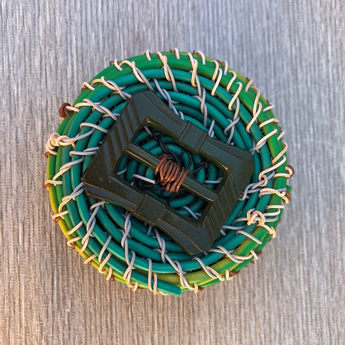 Mini Lidded - recycled plastic cable and wire 8 W cm x 4 H cm