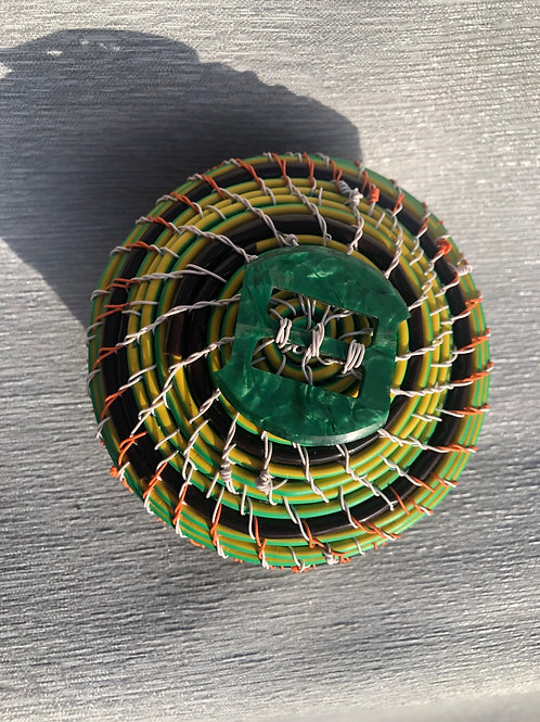 Lidded container - recycled cable, wire with bakelite buckle W 10cm x H 9cm