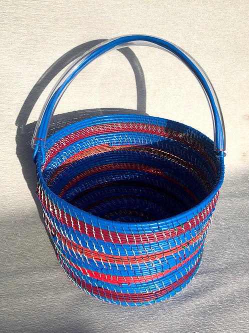 Big Blue Basket - recycled cable and wire 34 W cm x 24 H cm