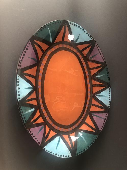 Oval Platter - terracotta decorated 26 w x 35 cm long x 3 deep