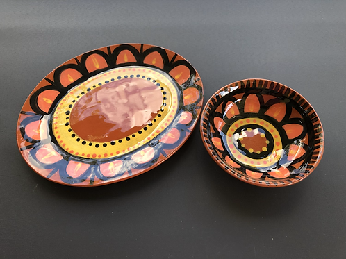 Plate and Bowl Set 2 - terracotta decorated