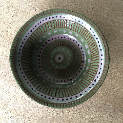 Green Breakfast Bowl - terracotta decorated 21W cm x 5H cm