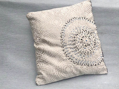 Virus Cushion II - recycled fabric samples & embroidery 35 W cm x 38 H cm