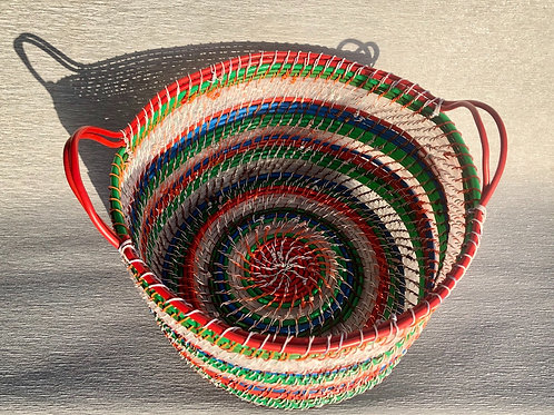 Stripe Basket - recycled plastic, cable and wire 30 W cm x 20 H cm
