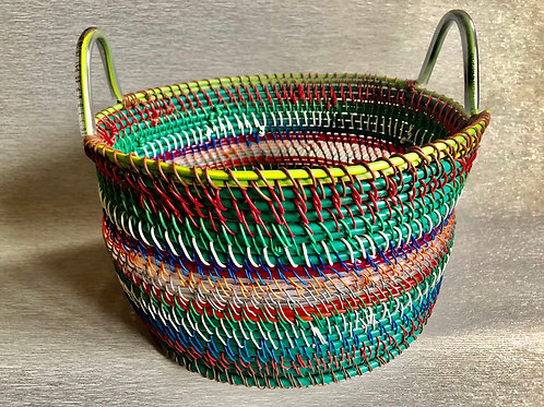 Storage Basket - recycled cable, plastic and wire 35 W cm x 26 H cm