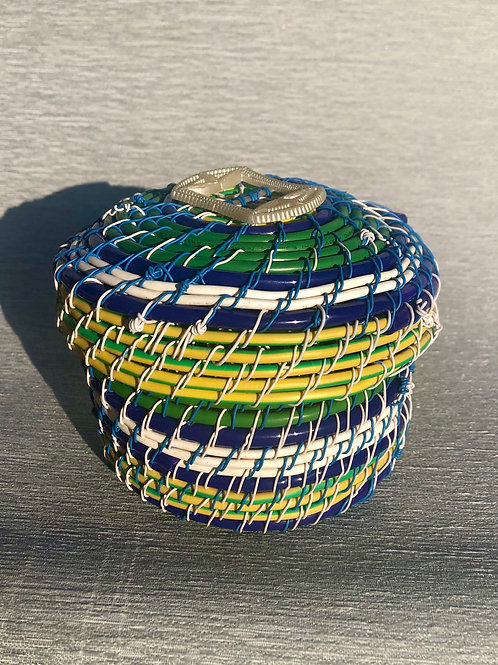 Lidded container - recycled cable, wire with bakelite 13 W x 10 H cm