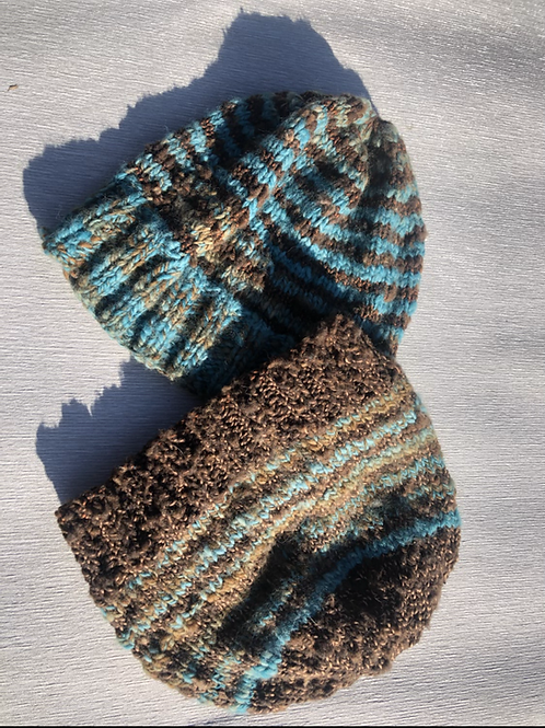 His and Hers Beanies hand spun hand dyed wool M
