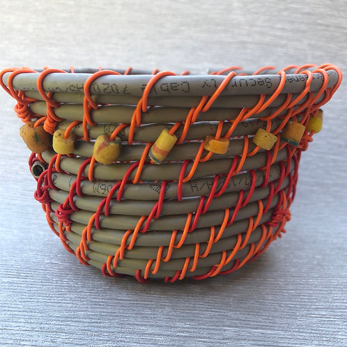 Trade baskets recycled cable, wire and African glass beads 6cm x 12cm w