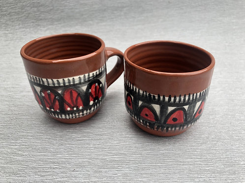 Coffee Cup - terracotta decorated 12 W cm x 8 H cm