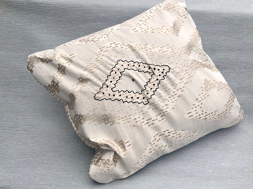 Isolation Cushion I - recycled fabric samples & embroidery 37W cm x 42H cm