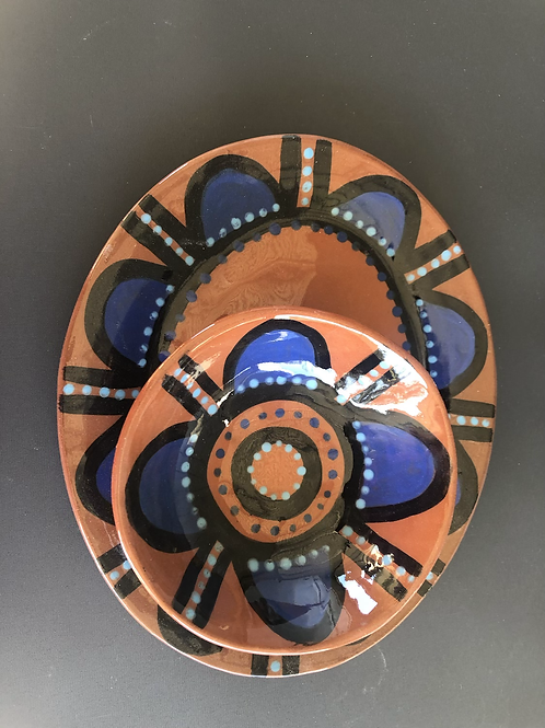 Plate and Bowl Set - terracotta decorated