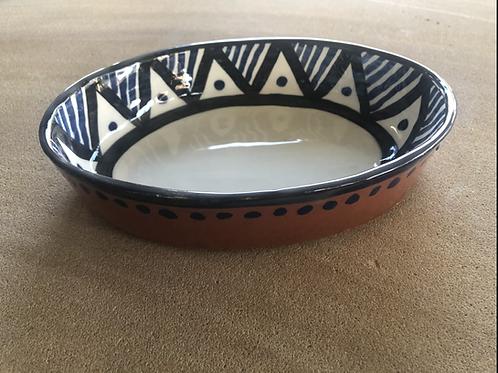 Baking Pot - terracotta decorated 27 W cm x 3H cm