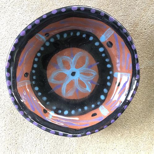Flower Bowls - terracotta decorated 12W cm x 4H cm