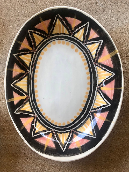 Oval Plate- terracotta decorated 27 W cm x 3H cm