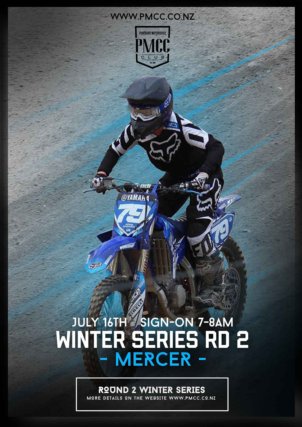 Round 2 of the Winter Series is this Sunday July 16th. Entries are open online at www.pmcc.co.nz. We are excited to run a new layout for this round so please note the pits and starting areas have been relocated so be sure not to pit in the old pit area. The main track has been fitted with a 40 gate start and the mini track has a 30 gate bungee start. Sign on is 7-8am and seniors are able to double class using the Senior Open class which runs for 2 of the 3 rounds. Check the website for details.