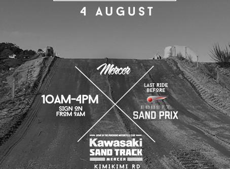 Last ride at the Kawasaki Sand Track before Ebbett Pukekohe Sand Prix!