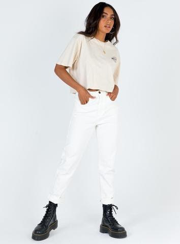 Grace Mom Jean White Denim