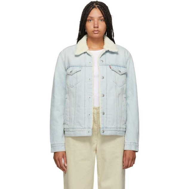 Levis Blue Denim Sherpa Trucker Jacket