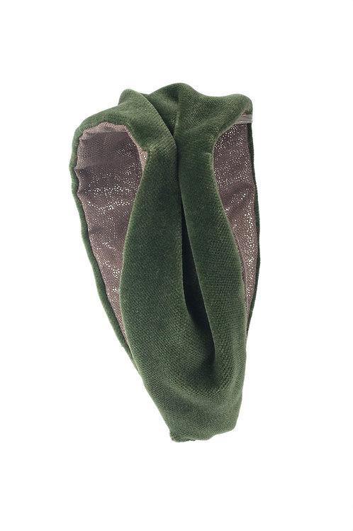 Diadema Terciopelo Verde con Frunce Lateral