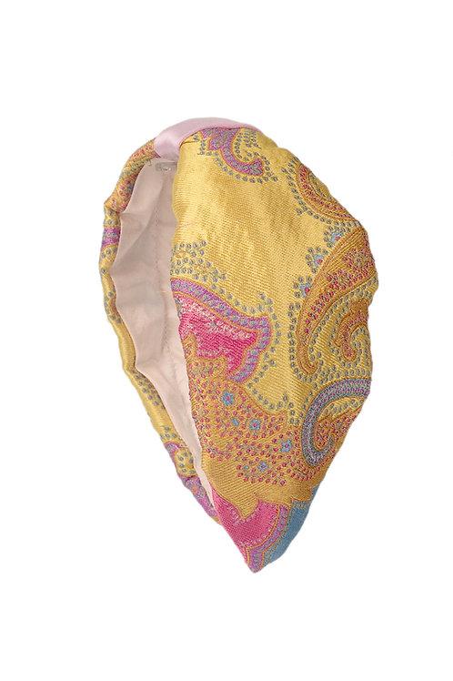 Diadema de seda damasco bordada con nudo rosa