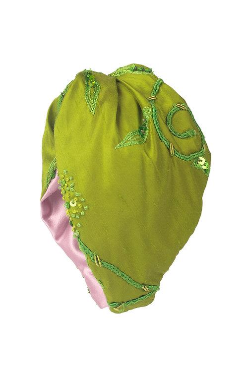 Banda de seda verde bordada