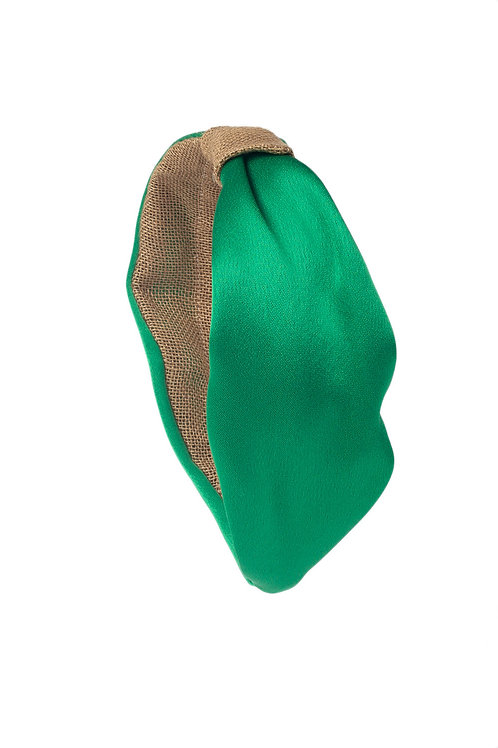 Diadema de seda verde con detalle lino natural