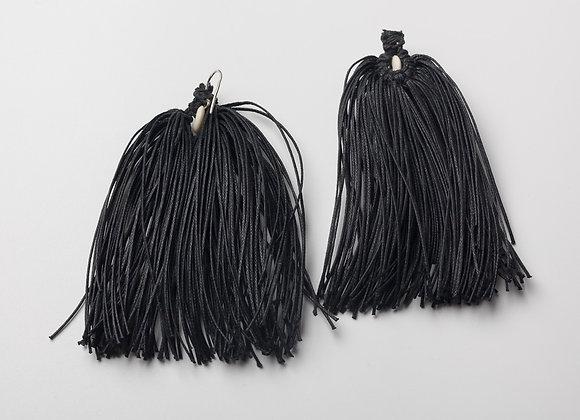 Pendiente Flecos  Negro/Natural
