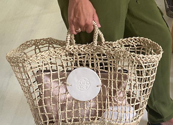Capazo rectángular con aplique Porcelana /Hand Made