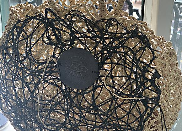 Capazo redondo con aplique de Tejido Seegrass /Porcelana /Hand Made