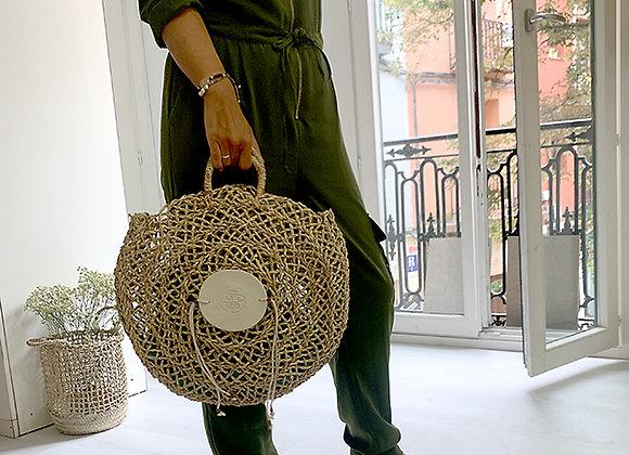 Capazo redondo con aplique de Porcelana /Hand Made