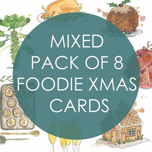 Pack of 8 Foodie Christmas cards