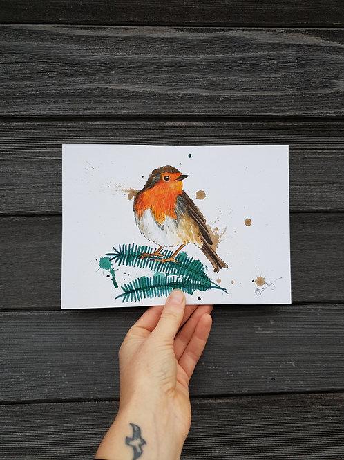'Splashy Robin' painting